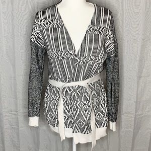 The Limited Geometric Tied Waist Open Cardigan
